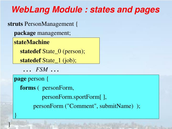 WebLang Module : states and pages