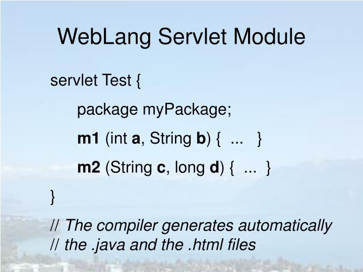 WebLang Servlet Module