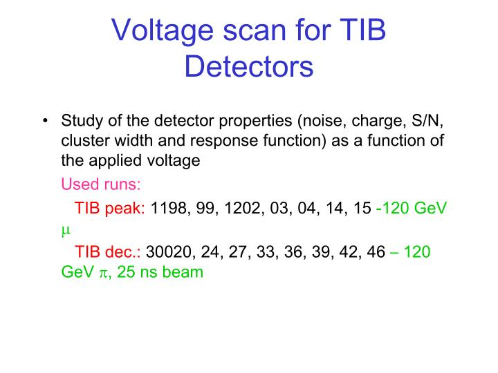 Voltage scan for TIB Detectors