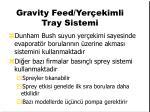 gravity feed yer ekimli tray sistemi