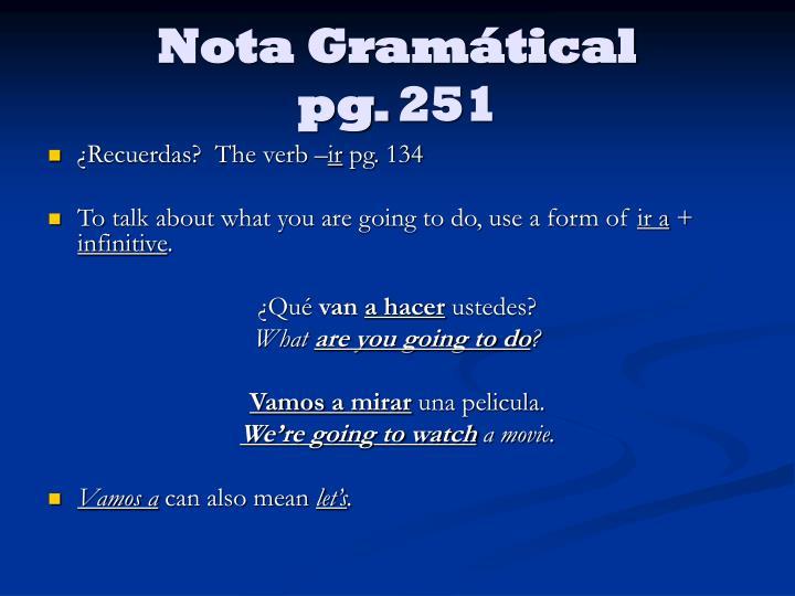 Nota Gramátical