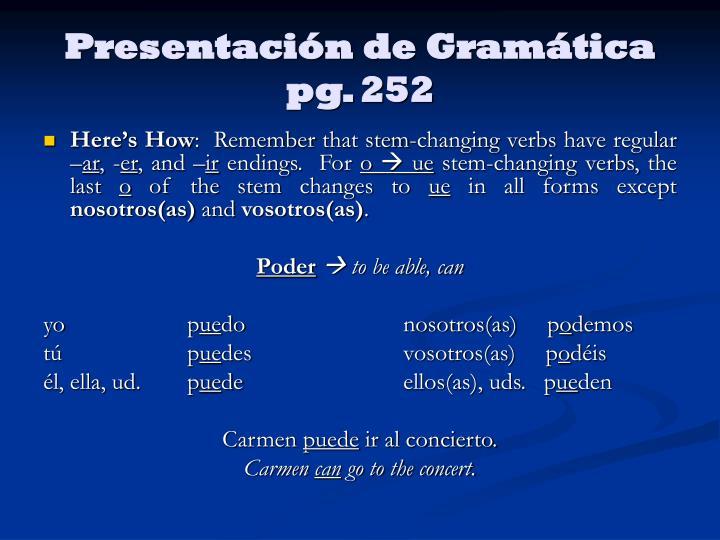 Presentación de Gramática