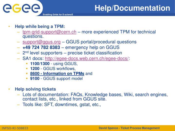 Help/Documentation