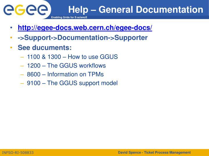 Help – General Documentation
