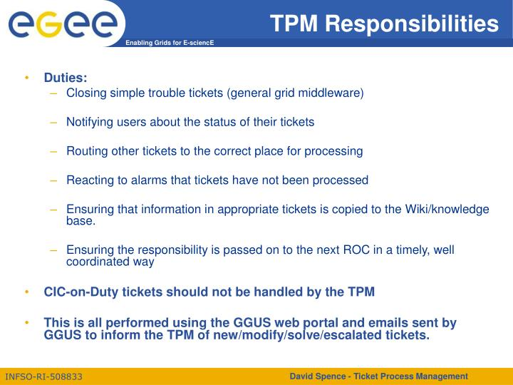 TPM Responsibilities
