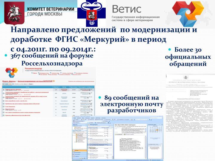 Направлено предложений  по модернизации и доработке  ФГИС «Меркурий» в период