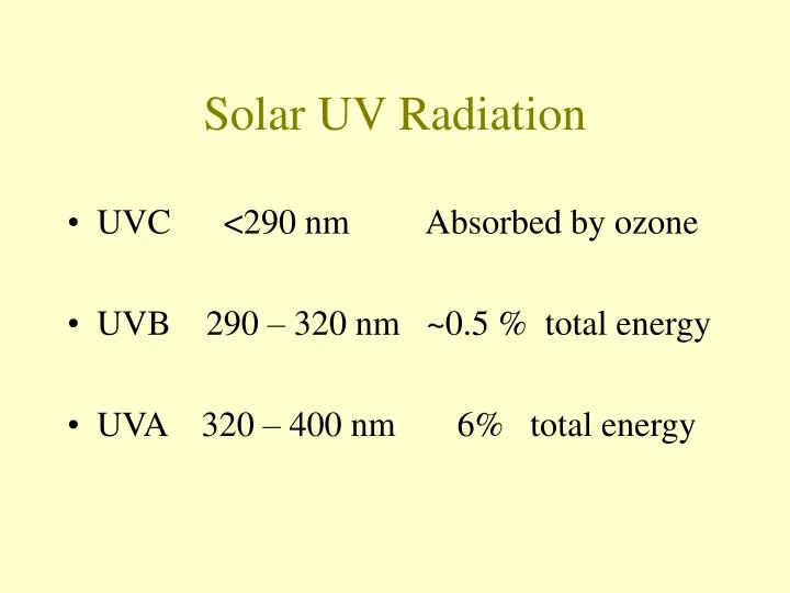 Solar uv radiation