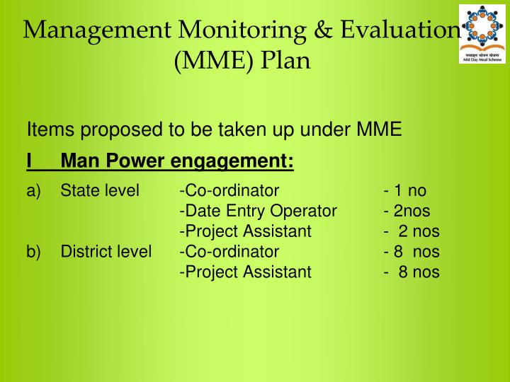 Management Monitoring & Evaluation (MME) Plan