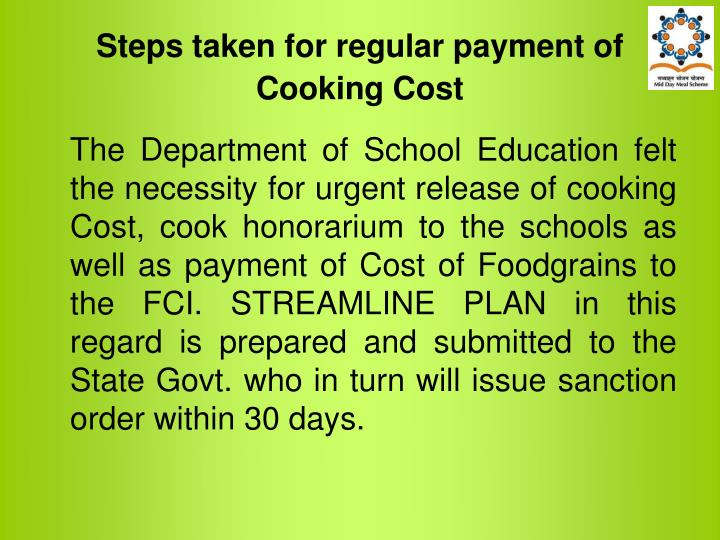 Steps taken for regular payment of Cooking Cost