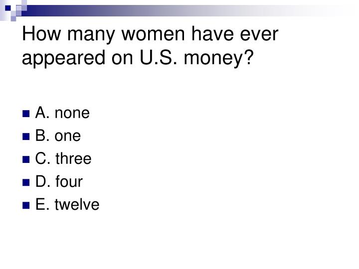 How many women have ever appeared on U.S. money?
