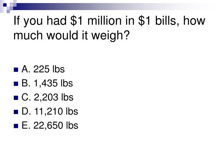 If you had $1 million in $1 bills, how much would it weigh?