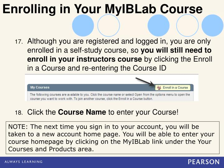 Enrolling in Your MyIBLab Course