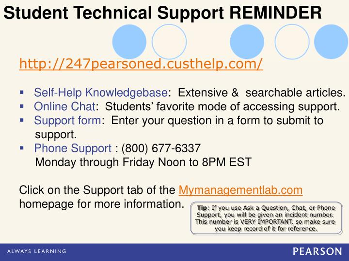 Student Technical Support REMINDER