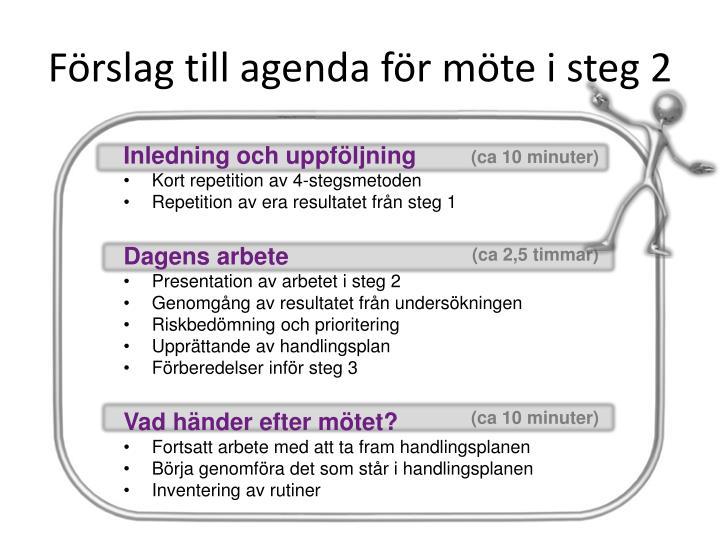 Förslag till agenda för möte i steg 2