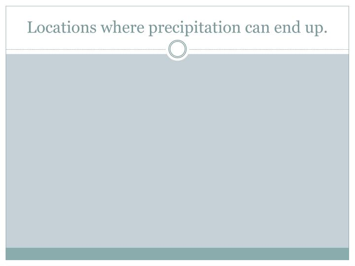 Locations where precipitation can end up.