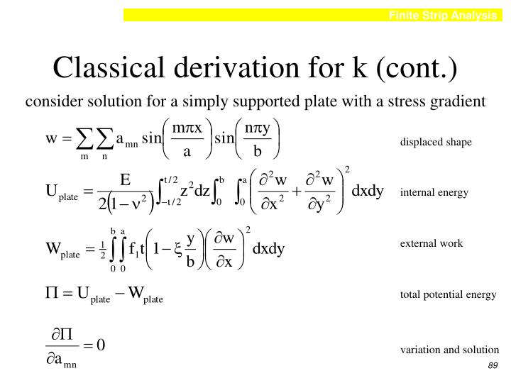Classical derivation for k (cont.)