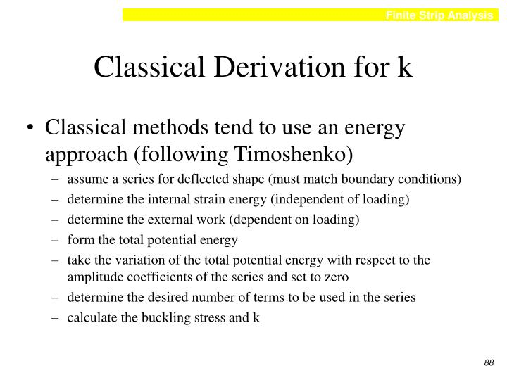 Classical Derivation for k
