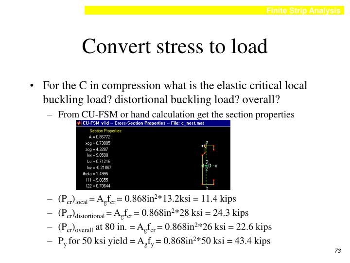 Convert stress to load