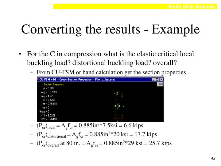 Converting the results - Example