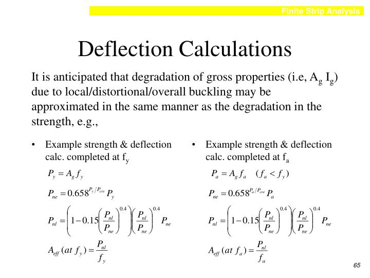 Example strength & deflection calc. completed at f