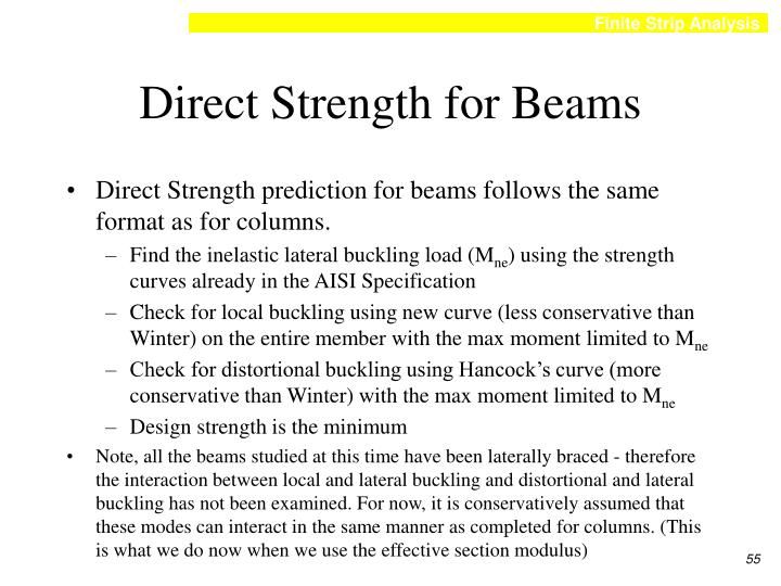 Direct Strength for Beams