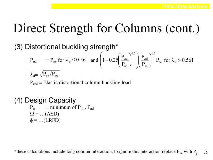 Direct Strength for Columns (cont.)