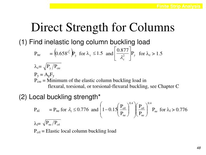 Direct Strength for Columns