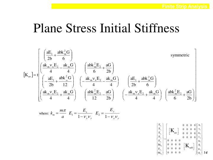 Plane Stress Initial Stiffness
