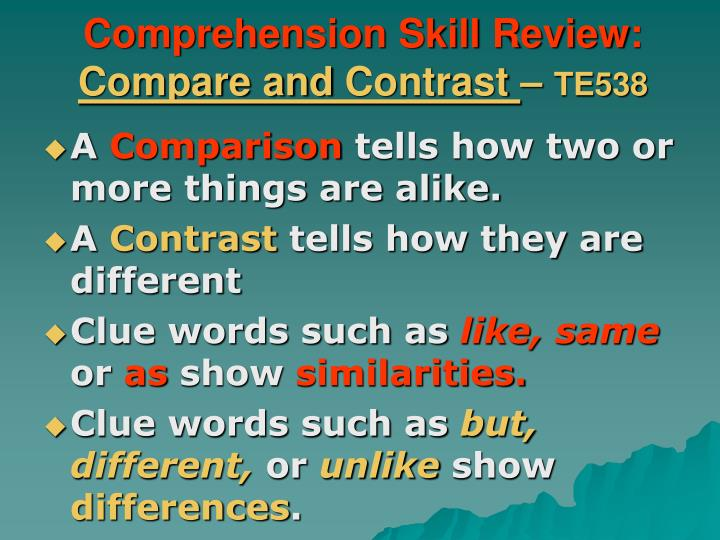 Comprehension Skill Review: