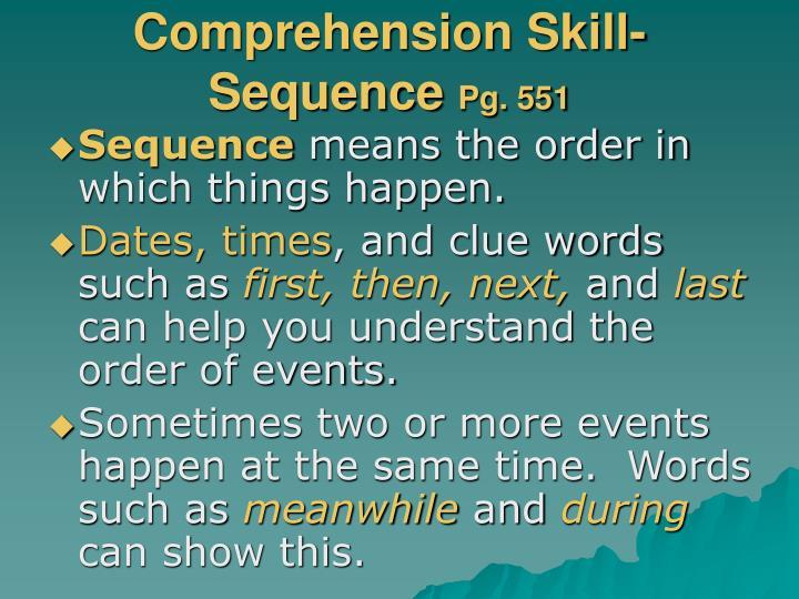 Comprehension Skill-
