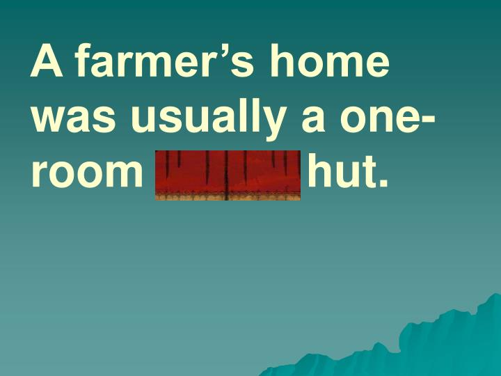 A farmer's home was usually a one-room adobe hut.