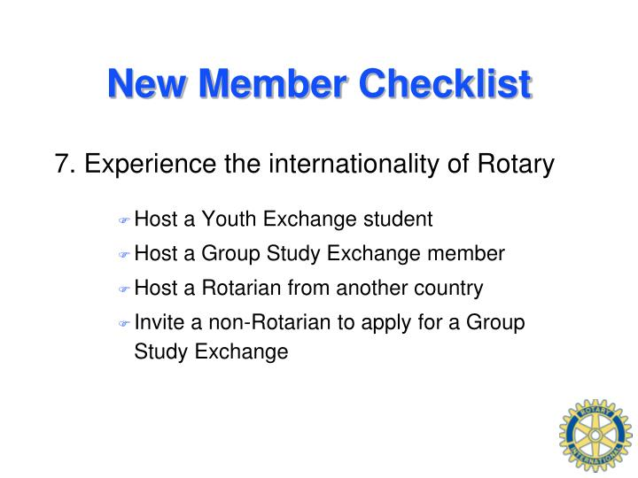 New Member Checklist