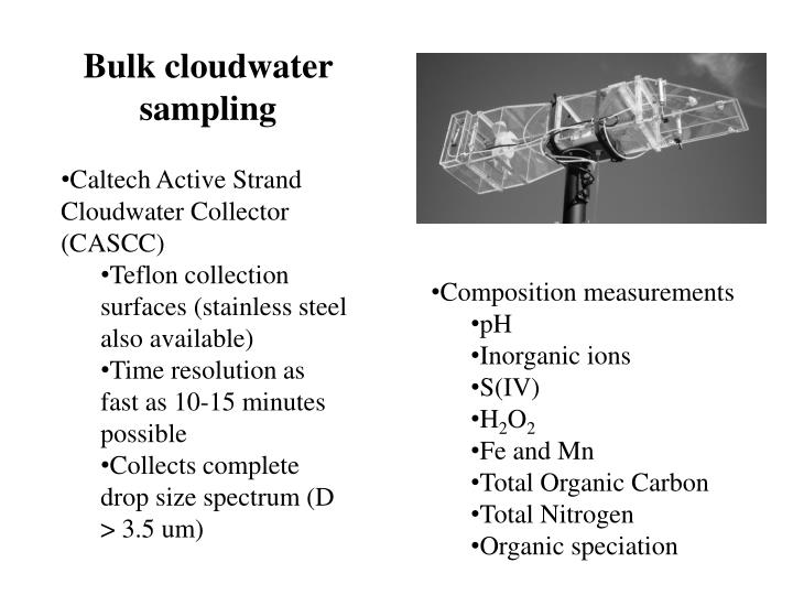 Bulk cloudwater sampling