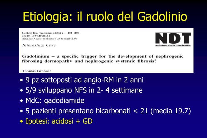 Etiologia: il ruolo del Gadolinio