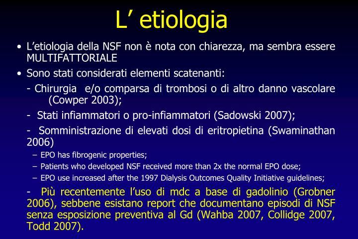 L' etiologia