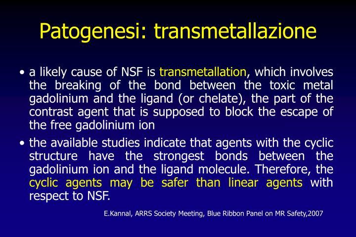 Patogenesi: transmetallazione