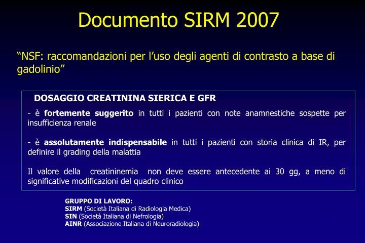 Documento SIRM 2007