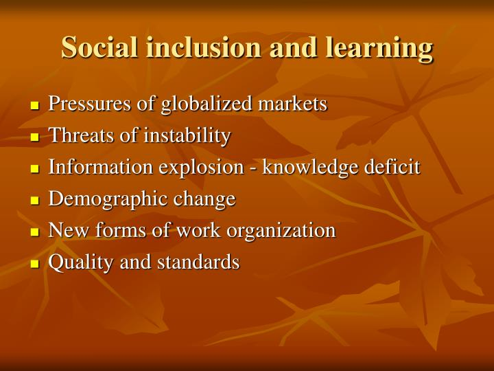 Social inclusion and learning