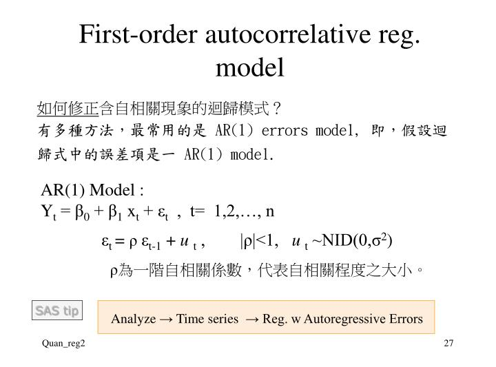 First-order autocorrelative reg. model