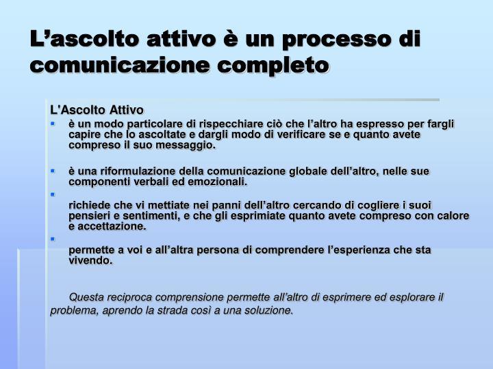 L'ascolto attivo è un processo di comunicazione completo