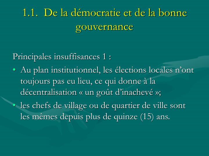 1.1.  De la démocratie et de la bonne gouvernance