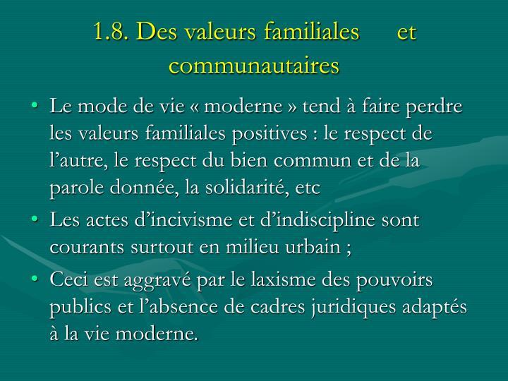 1.8. Des valeurs familiales et