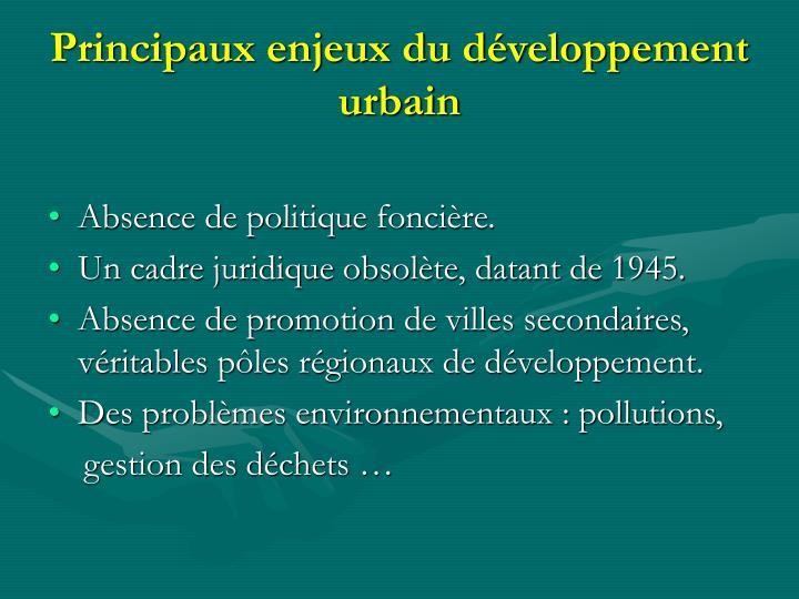Principaux enjeux du développement urbain