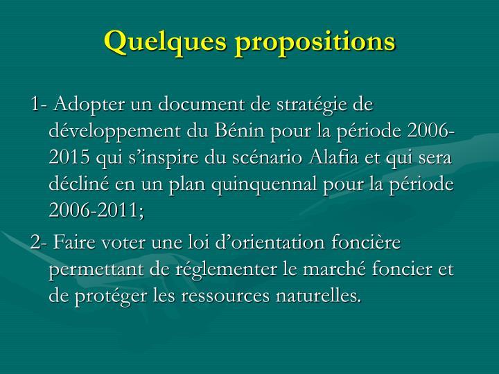 Quelques propositions
