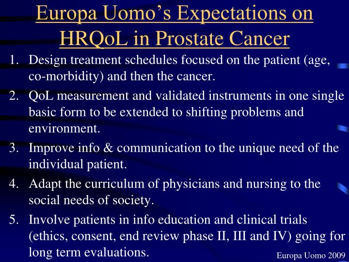 Europa Uomo's Expectations on HRQoL in Prostate Cancer