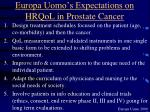 europa uomo s expectations on hrqol in prostate cancer
