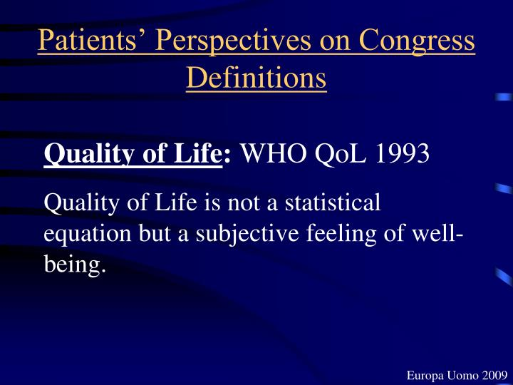 Patients' Perspectives on Congress Definitions