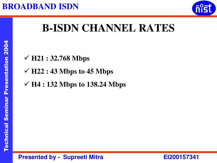 B-ISDN CHANNEL RATES