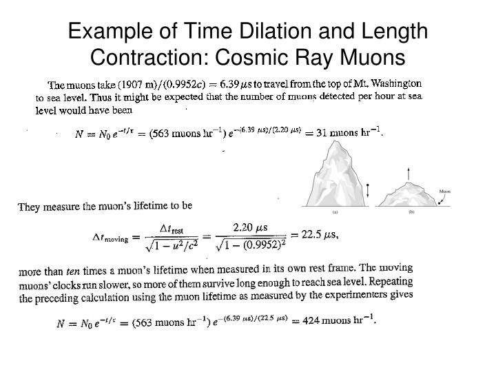 Example of Time Dilation and Length Contraction: Cosmic Ray Muons