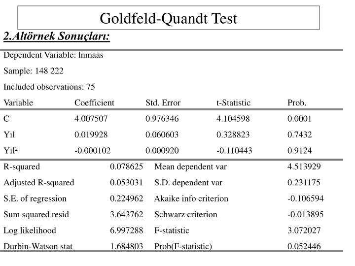 Goldfeld-Quandt Test